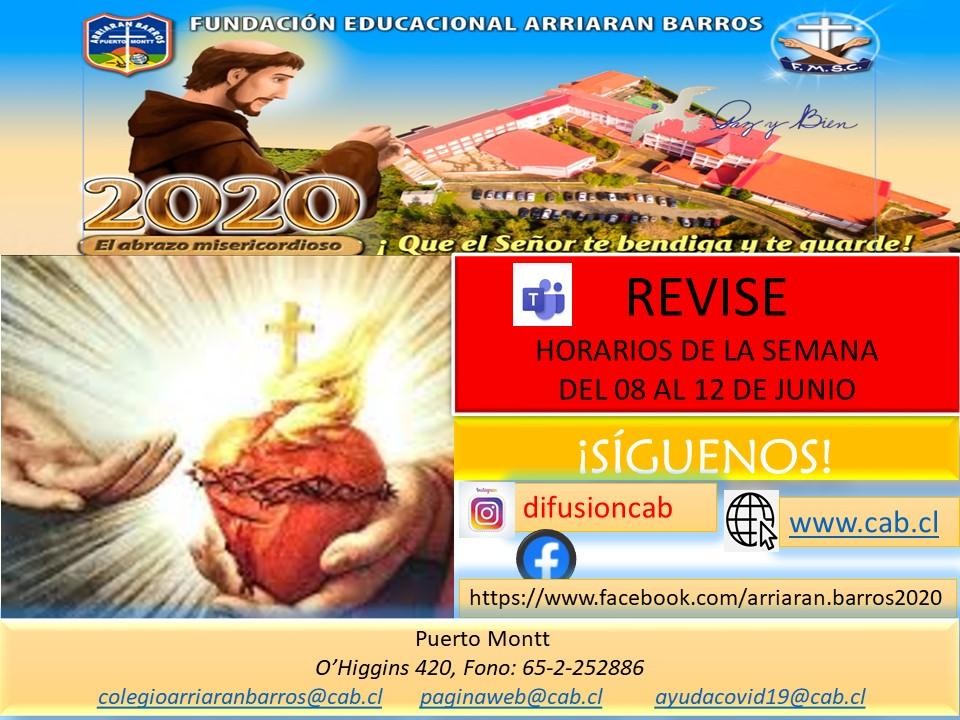 HORARIO SEMANA DEL 08 AL 12 DE JUNIO
