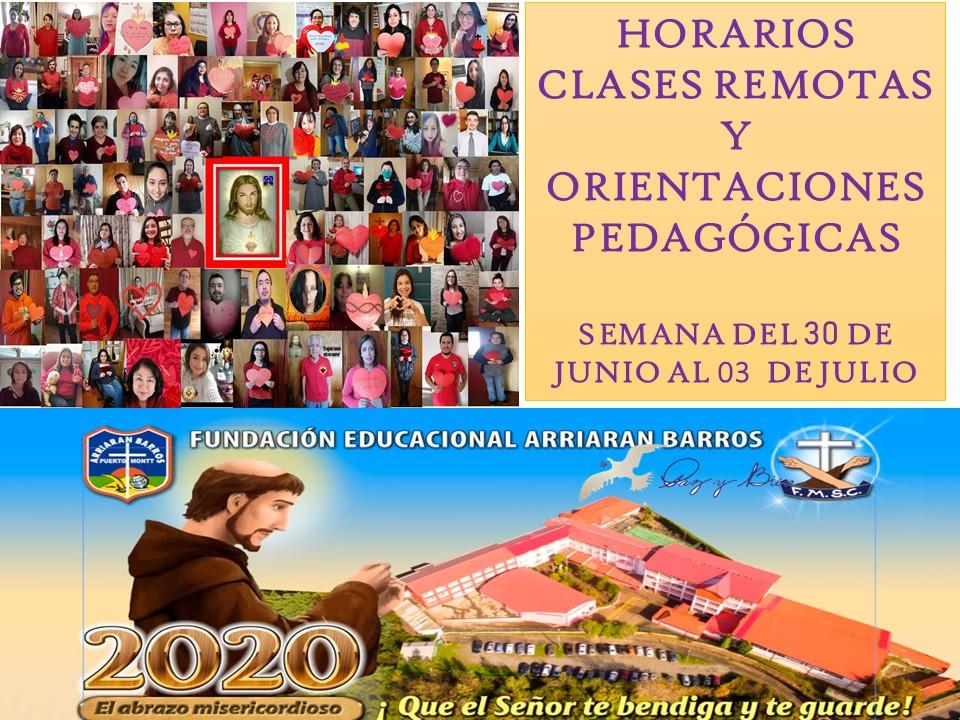 HORARIOS SEMANA DEL 30 DE JUNIO AL 03 DE JULIO