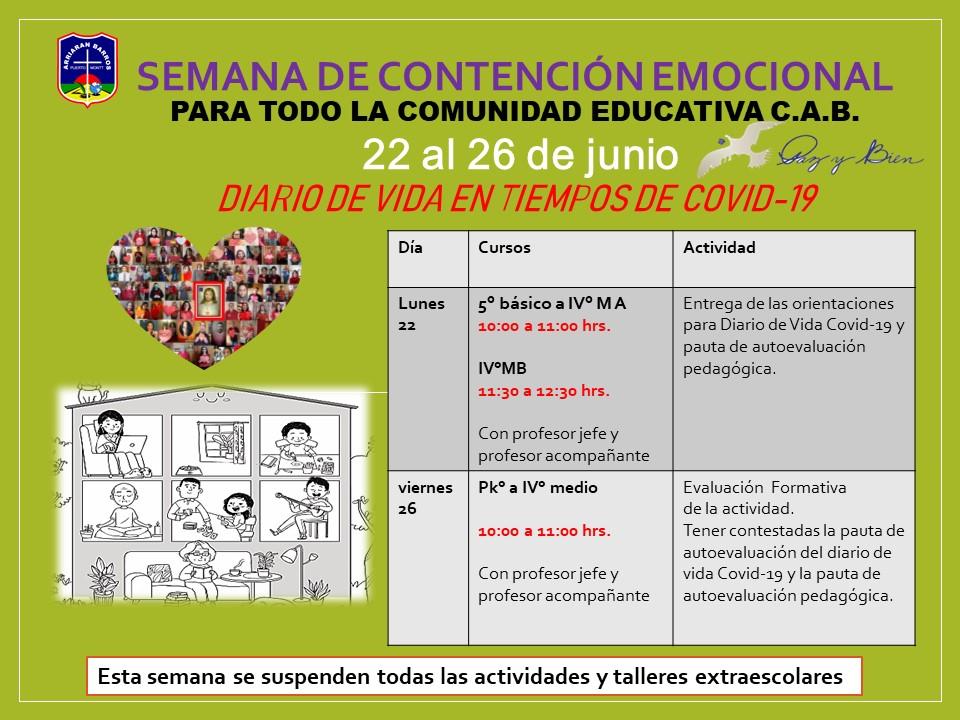 HORARIO SEMANA DEL 22 AL 26 DE JUNIO