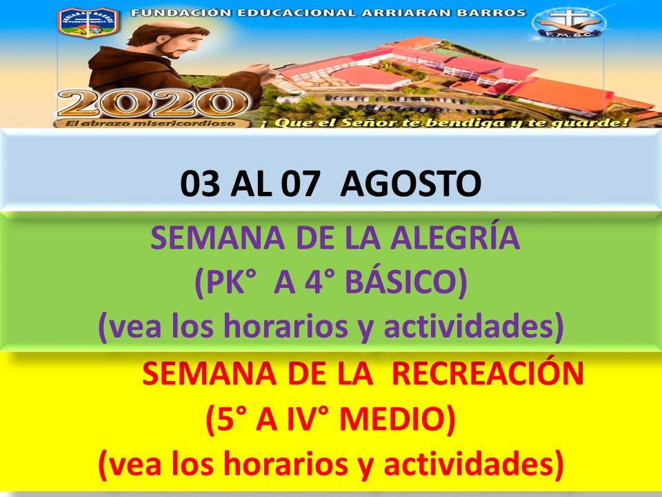 HORARIOS SEMANA DEL 03 AL 07 DE AGOSTO