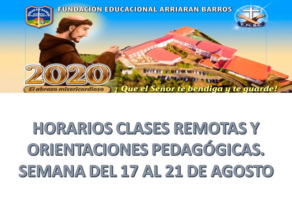 HORARIOS CLASES REMOTAS Y ORIENTACIONES PEDAGÓGICAS