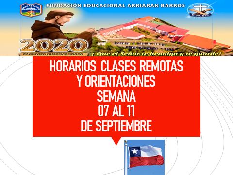 HORARIOS DE CLASES REMOTAS Y ORIENTACIONES PEDAGOGICAS