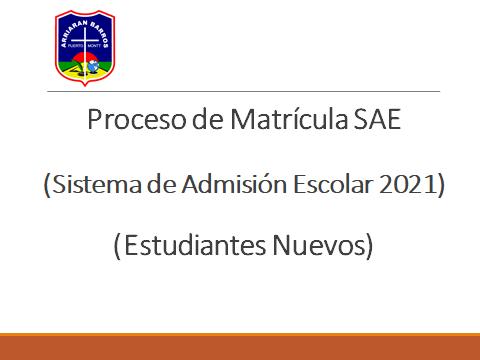 COMUNICADO MATRICULA SAE 2021