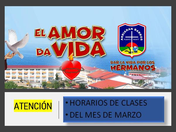 HORARIOS DE CLASES: MARZO 2021 (Actualizado)