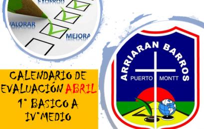 CALENDARIO DE EVALUACION MES DE ABRIL