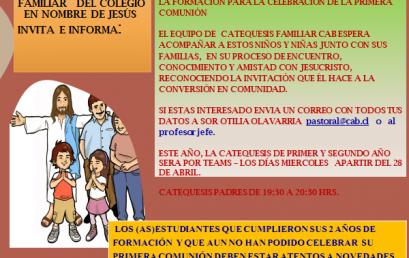FORMACION PARA CELEBRACION DE LA PRIMERA COMUNIÓN