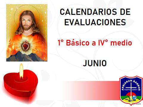 CALENDARIOS DE EVALUACIONES JUNIO