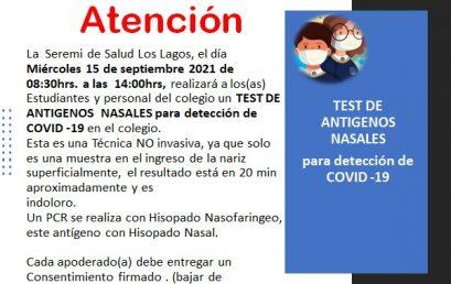 MINSAL TOMARÁ EXAMEN: TEST ANTIGENOS NASALES PARA DETECCION COVID-19