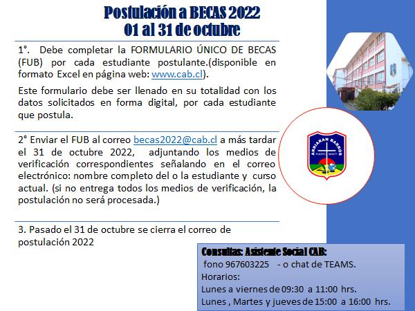 POSTULACION A BECAS 2022